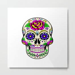 Mexican skull flowers Metal Print