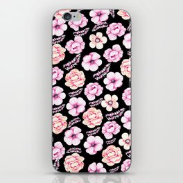 Watercolor coral pink black tropical floral iPhone Skin