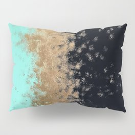 turquoise, gold, and black painting Pillow Sham