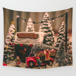 Tiny Christmas Town (Color) Wall Tapestry