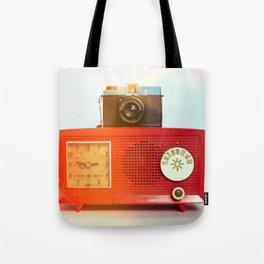 Retro Still Life with Vintage Radio Tote Bag