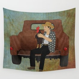 Rooster man and his pick up truck Wall Tapestry