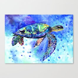 Sea Turtle, Underwater Scene Canvas Print