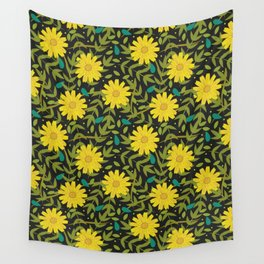 Sunflowers on Black Wall Tapestry