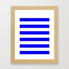 Horizontal Stripes - White and Blue Framed Art Print