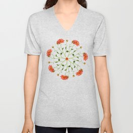 Coral Mum Floral Pattern - Realistic Flowers - Chrysanthemum Bloom Patterns Unisex V-Neck