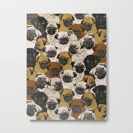 Social Pugs Metal Print