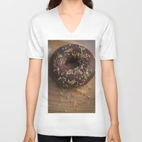 donut V-neck T-shirts featuring Donut by LaiaDivolsPhotography