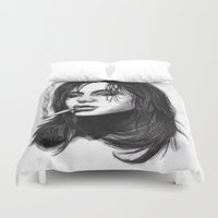 smoking Duvet Covers featuring Smoking Trash by Ryan May Art