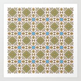 Venetian Blue and Gold Pattern Art Print