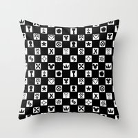 kingdom hearts Throw Pillows featuring Kingdom Hearts Grid by KewlZidane