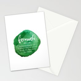 Fernweh Word Nerd - Green Watercolor Stationery Cards