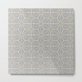 Mindful gray Japanese Asanoha (Hemp) pattern Metal Print