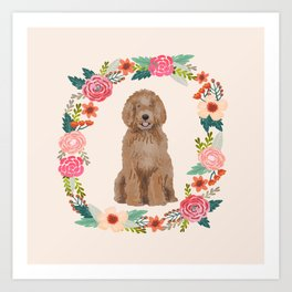 labradoodle floral wreath dog breed pet portrait pure breed dog lovers Art Print