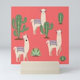 Llama with Cacti Mini Art Print