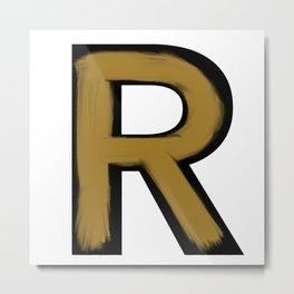 Minimalist R Gold Stroke Metal Print