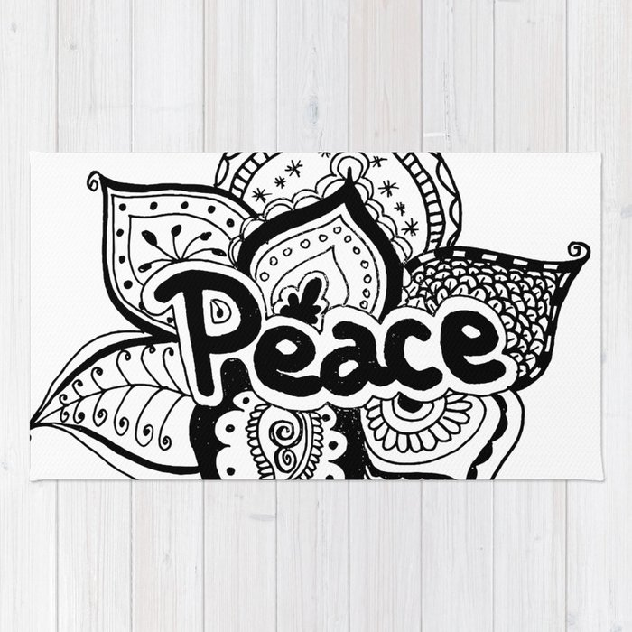Peace lotus Motto saying mandala floral pattern Rug