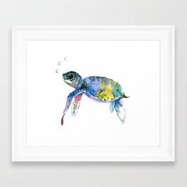 Sea Turtle, children artwork Illustration Framed Art Print