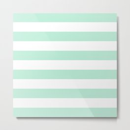 Stripe Horizontal Mint Green Metal Print