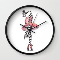 amy sia Wall Clocks featuring Sia Ballerina by nicky costi