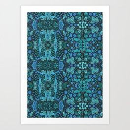 Indian Summer, Bohemian Ethnic Pattern, Blue Turquoise Art Print