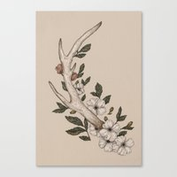 antler Canvas Prints featuring Floral Antler by Jessica Roux