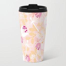 Flowers and dragonfly on blush Travel Mug