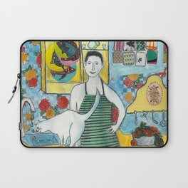 Man with cat in the kitchen Laptop Sleeve