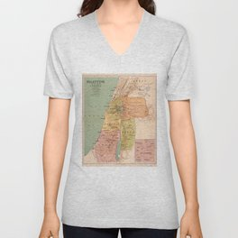 Map of Palestine in the Time of Christ (to 70 A.D.) Unisex V-Neck