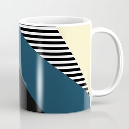 Striped, Abstract, Geometric Art, Blue, Yellow and Black Coffee Mug