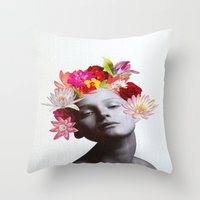 hippy Throw Pillows featuring hippy by Federica Meli