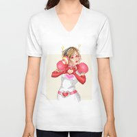 valentines V-neck T-shirts featuring Happy Valentines! by Elisa FS