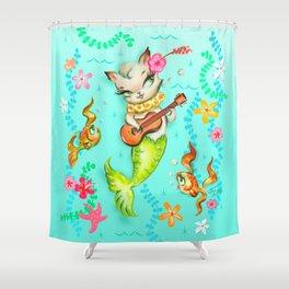 Mermaid Cat with Ukulele Shower Curtain