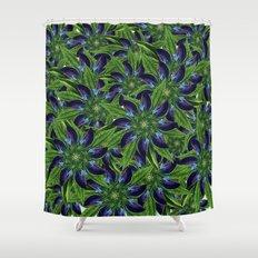 Vintage Blue Floral Pattern Collage Shower Curtain