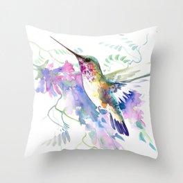 Hummingbird and Soft Purple Flowers Throw Pillow