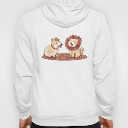 Corgi dog and a cat imitating lion with mane made of autumn leaves Hoody