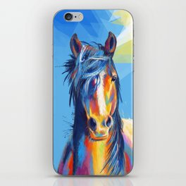 Horse Beauty - colorful animal portrait iPhone Skin