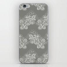 White on Grey Lace iPhone & iPod Skin