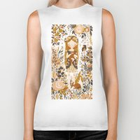 white Biker Tanks featuring The Queen of Pentacles by Teagan White