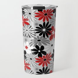 Funky Flowers in Red, Gray, Black and White Travel Mug