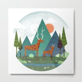 Deer and son Metal Print