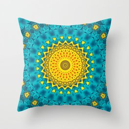 Birds of Paradise Geometric Circle Pattern \\ Tropical Beach House Vibes \\ Green Yellow Blue Colors Throw Pillow