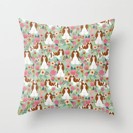 Blenheim Cavalier King Charles Spaniel dog breed florals pattern Throw Pillow