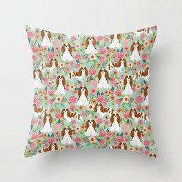 Blenheim Cavalier King Charles Spaniel dog breed florals pattern Throw Pillow
