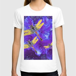 Golden Dragonflies Midnight Blue Dreamscape T-shirt