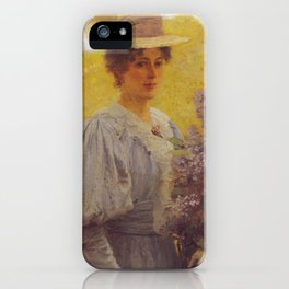 Hans Gude Painting -  Ung Dame Med Syriner 1897  | Reproduction | Norwegian Art iPhone Case