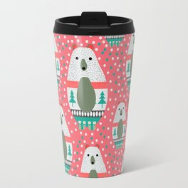 Bears with dots in pink Travel Mug