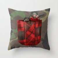 hunter Throw Pillows featuring Hunter by Piotr Burdan