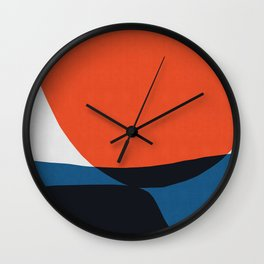 Blue and Red Art I Wall Clock