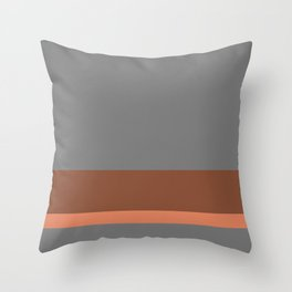 Solid Gray/Two-Tone Terracotta w/ Divider Lines - Abstract Art #ArtOfGaneneK Throw Pillow